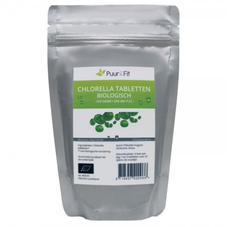 Chlorella tabletten 500mg, bio (250g - Puur&Fit)