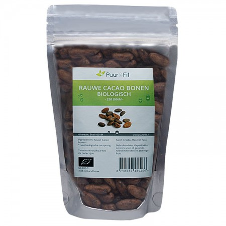Rauwe Criollo Cacao bonen, bio (250g - Puur&Fit)