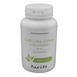 Curcuma Longa 500mg + Bioperine (120 caps - Puur&Fit)