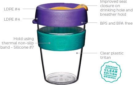 KeepCup Clear herbruikbare koffiebeker